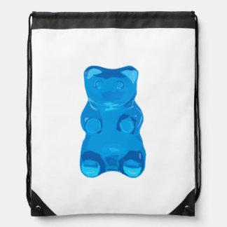Blue Gummybear Illustration Drawstring Bag