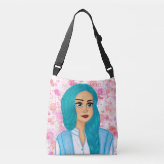 Blue hair crossbody bag