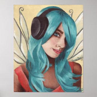 Blue Hair Fairy Art Music Faerie Poster
