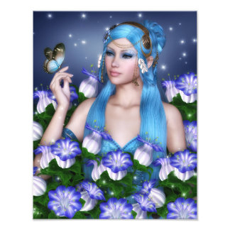 Blue hair girl with butterfly photograph