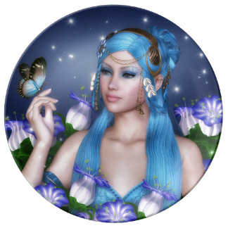 Blue hair girl with butterfly porcelain plates