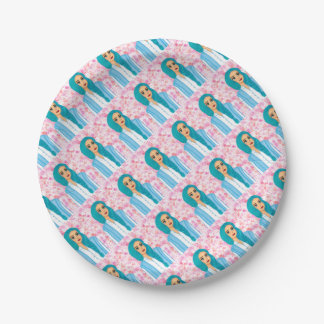Blue hair paper plate