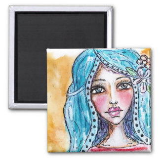 Blue Hair Watercolor Art Boho Girl Flower Colorful Magnet
