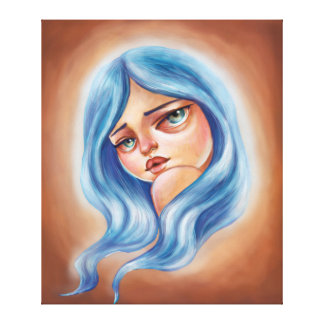 Blue Haired Girl Pop Surrealism Big Eyed Girl Art Canvas Prints