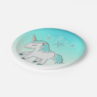 Blue Haired Unicorn and Stars Paper Plate