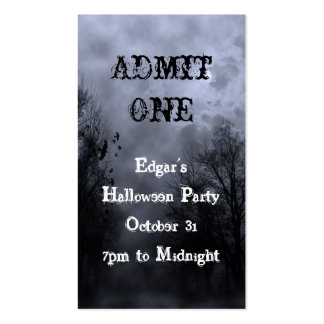 Blue Halloween Haunted Sky Party Ticket Template Business Card Templates