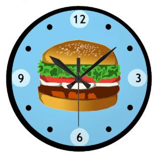 Blue Hamburger Clock