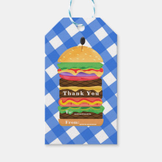 Blue Hamburger Summer Cookout Barbecue BBQ Party Gift Tags