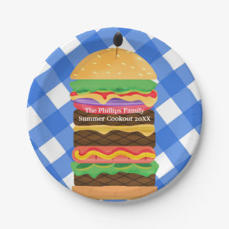 Blue Hamburger Summer Cookout Barbecue Party BBQ Paper Plate