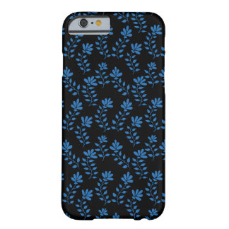 Blue hand drawn flower branch pattern on black barely there iPhone 6 case