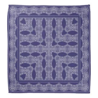 Blue handkerchief with white ornament bandana