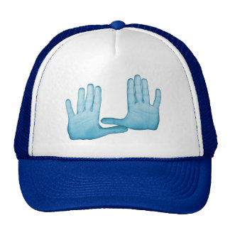 Blue hands are folded into the gestures cap