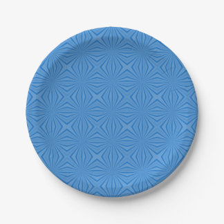 Blue Hannakah Squiggly Squares Paper Plate