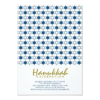 Blue Hanukkah Stars Of David Holiday Party Invite