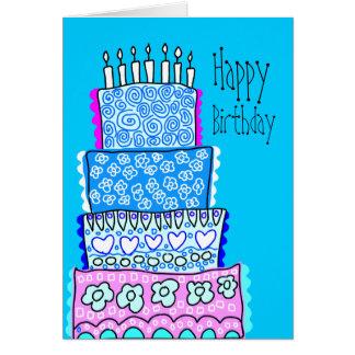 Blue Happy Birthday Cake Card