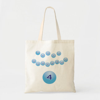 Blue Happy Birthday for Boy Age 4 Budget Tote Bag