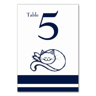 Blue Happy Cat Table Number Card