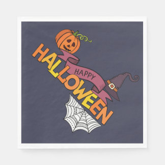 Blue Happy Halloween Greeting Napkin Paper Napkin