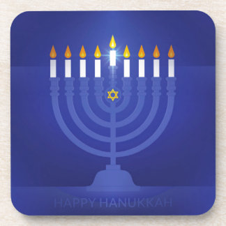 blue happy hanukkah coaster
