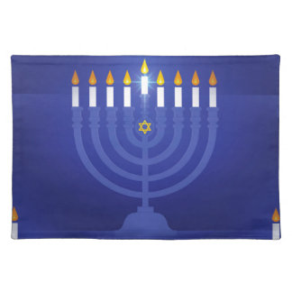 blue happy hanukkah placemat