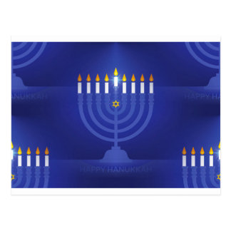 blue happy hanukkah postcard