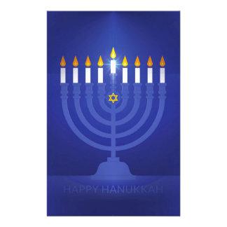 blue happy hanukkah stationery