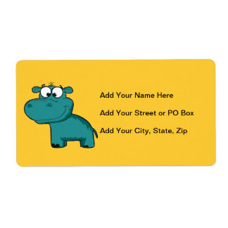 Blue Happy Hippo Shipping Label