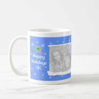 Blue Happy Holiday Snowflakes 2-Photo Frame Coffee Mugs