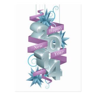 Blue Happy New Year 2014 Ornaments Postcard