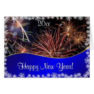 Blue Happy New Year Fireworks  felicitation Greeting Card