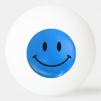 Blue Happy Sad Smiley Bi Polar Ping Pong Ball