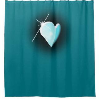 blue hart shower curtain