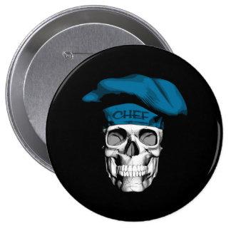Blue Hat Chef Skull 10 Cm Round Badge