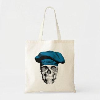 Blue Hat Chef Skull Budget Tote Bag