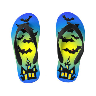 Blue Haunted House and Bats Kid's Thongs