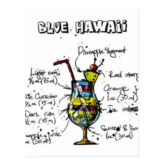 Blue Hawaii Cocktail Recipe Postcard