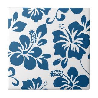 Blue Hawaiian Hibiscus Ceramic Tile