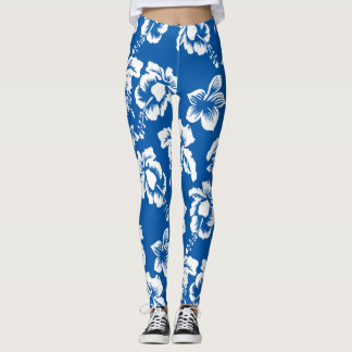 Blue Hawaiian Hibiscus Flowers Leggings