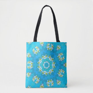 Blue Hawaiian Plumeria Lei All-Over Print Tote Bag