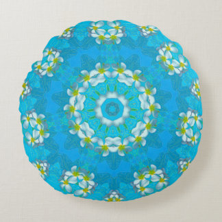 Blue Hawaiian Plumeria Lei Round Throw Pillow 16""