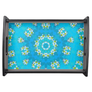 Blue Hawaiian Plumeria Lei Serving Tray