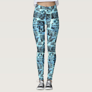 Blue Hawaiian Print Pretty Aloha Spirit Leggings