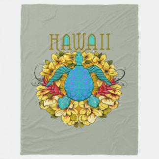 Blue Hawaiian Sea Turtle, Flowers Blanket