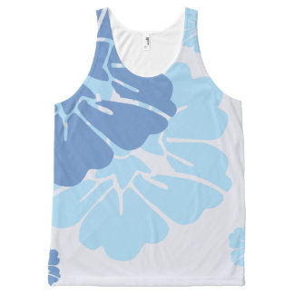 Blue Hawaiian Style Flowers All-Over Print Singlet