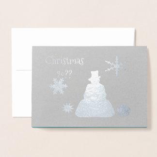 Blue Haze Snowman Happy Holidays Foil Card