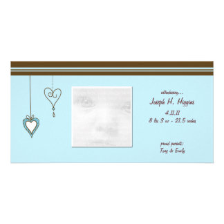 Blue Heart Baby Announcement Photo Cards
