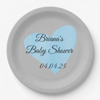 Blue Heart Baby Shower Dinner Plates