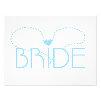 Blue Heart Bride T-shirts and Gifts Custom Announcement