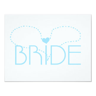 "Blue Heart Bride T-shirts and Gifts 4.25"" X 5.5"" Invitation Card"