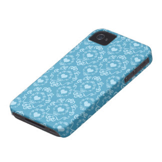 Blue heart damask stylish pattern blackberry bold iPhone 4 case